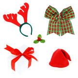 Kerstmisreeks & Toebehoren geïsoleerd op witte achtergrond, Paar royalty-vrije stock afbeeldingen