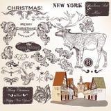 Kerstmisreeks van kalligrafische uitstekende elementen, wervelingen en andere Stock Foto
