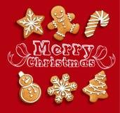 Kerstmisreeks van peperkoekkoekjes Stock Fotografie