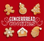 Kerstmisreeks van peperkoekkoekjes Royalty-vrije Stock Afbeelding