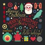 Kerstmisreeks voorwerpen Stock Fotografie