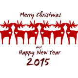 Kerstmisrendier - Groetkaart 2015 Stock Fotografie