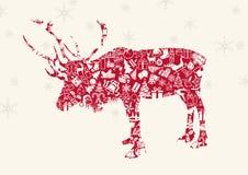 Kerstmisrendier met Ornamenten en Sneeuwvlokken Royalty-vrije Stock Afbeeldingen