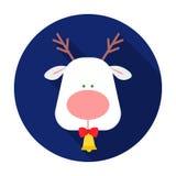 Kerstmisrendier met rood neuspictogram in vlakke die stijl op witte achtergrond wordt geïsoleerd De vector van de het symboolvoor Stock Afbeelding