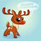 Kerstmisrendier in Santa Claus-hoed met bellen vectorillustratie op sneeuwachtergrond Stock Foto