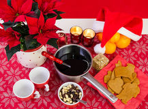 Kerstmissamenstelling met glogg Stock Foto's