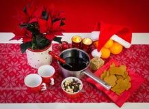 Kerstmissamenstelling met glogg Stock Foto