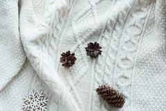 Kerstmissamenstelling met kegel, sneeuwvlokken op witte gebreide sweater De kaart van de vakantie Uitstekende stijl Vlak leg Stock Afbeeldingen