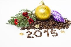 Kerstmissamenstelling met koffiebonen Royalty-vrije Stock Afbeelding