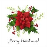 Kerstmissamenstelling met poinsettia en maretak Handbrief Royalty-vrije Stock Foto's