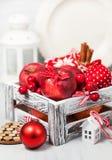 Kerstmissamenstelling met rode appelen, ballen, kaneel, sneeuw en Royalty-vrije Stock Fotografie