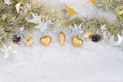 Kerstmissamenstelling op een achtergrond van ijs Royalty-vrije Stock Afbeelding