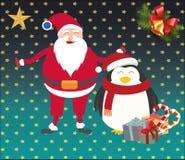 Kerstmissanta en pinguïn Royalty-vrije Stock Foto