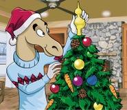 Kerstmisscène - Kerstmanpaard Royalty-vrije Stock Foto's