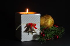 Kerstmisscène met kaars Royalty-vrije Stock Afbeelding