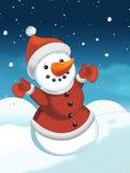 Kerstmisscène met sneeuwman Stock Foto's