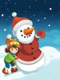 Kerstmisscène met sneeuwman Royalty-vrije Stock Afbeeldingen