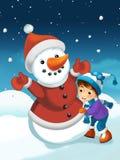 Kerstmisscène met sneeuwman Stock Fotografie