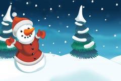 Kerstmisscène met sneeuwman Royalty-vrije Stock Afbeelding