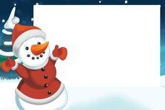 Kerstmisscène met sneeuwman - kader Stock Foto
