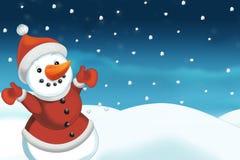 Kerstmisscène met sneeuwman - kader Stock Fotografie