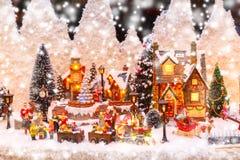 Kerstmisscène op shopwindow royalty-vrije stock foto