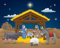 Kerstmisscène van de beeldverhaalgeboorte van christus vector illustratie