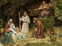 Kerstmisscène van de geboorte van de baby Jesus Stock Foto