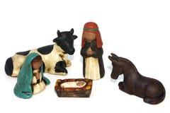 Kerstmisscène van de geboorte van Christus Stock Afbeeldingen