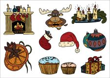 Kerstmisschets met als thema gehade objecten illustratie Stock Afbeelding