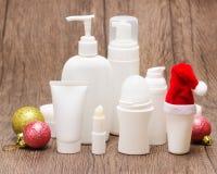 Kerstmisschoonheidsmiddelen voor gezicht en lichaamsverzorging Royalty-vrije Stock Afbeeldingen