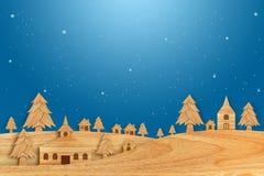 Kerstmisseizoen van hout met de stijlillustratie die van de decoratiekunst wordt gemaakt Stock Foto