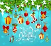 Kerstmisslinger met gift en klokgroetkaart royalty-vrije illustratie