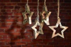 Kerstmisslinger van houten ster Royalty-vrije Stock Foto