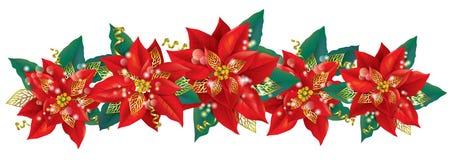 Kerstmisslinger van poinsettia Stock Afbeeldingen
