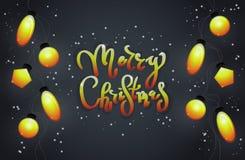 Kerstmisslingers, en een heldere tekst op een donkere achtergrond fest Royalty-vrije Stock Fotografie