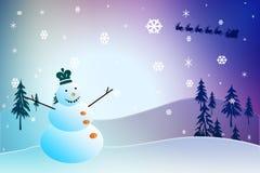Kerstmissneeuwman Stock Afbeeldingen