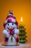 Kerstmissneeuwman Stock Fotografie