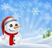 Kerstmissneeuwman in de Winterscène Stock Afbeeldingen