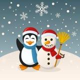 Kerstmissneeuwman en Pinguïn vector illustratie