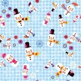 Kerstmissneeuwman & van de sneeuwvlokkenwinter naadloos patroon Stock Afbeeldingen