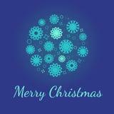 Kerstmissneeuwvlok in cirkel Stock Fotografie
