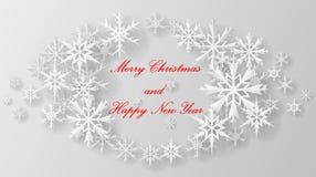 Kerstmissneeuwvlok op papier Stock Afbeeldingen