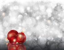 Kerstmissneeuwvlokken en snuisterijen Stock Afbeeldingen