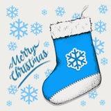 Kerstmissok voor giften die op de open haard hangen De illustratie van sokheilige Nicholas Vector Royalty-vrije Stock Afbeelding