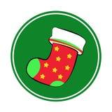 Kerstmissokken met Vrolijk Kerstmisrood Royalty-vrije Stock Foto's