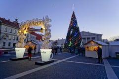 Kerstmisspar en reclame van koffie Royalty-vrije Stock Foto's