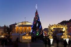 Kerstmisspar en reclame van koffie Royalty-vrije Stock Afbeeldingen