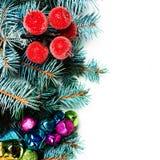 Kerstmisspar met decoratie en exemplaarruimte, op w wordt geïsoleerd dat Royalty-vrije Stock Foto's
