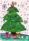 Kerstmisspar met sneeuw, waterverf het schilderen op papier Stock Afbeeldingen